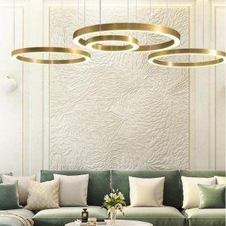 Lampa wisząca Circle do salonu - 80 cm złote okręgi LED