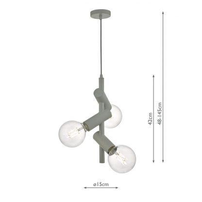 wymiary - Lampa wisząca Sion - 3 żarówki ozdobne