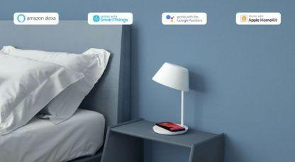 biała lampka nocna do sypialni