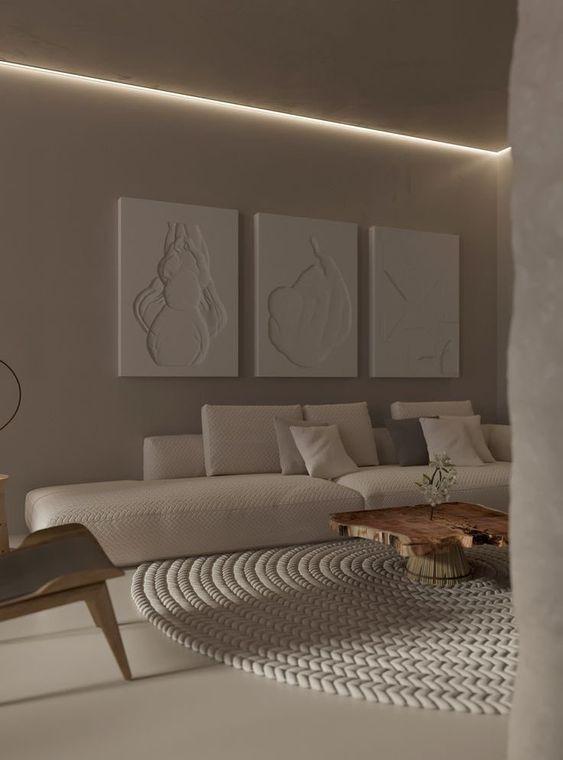 podświetlenie led ściany w salonie
